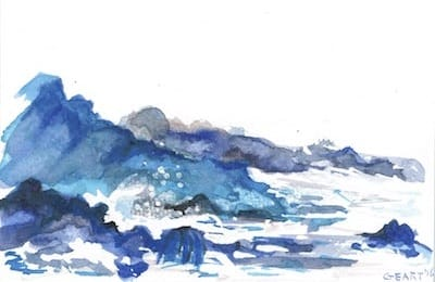 Watercolor - waves on a rock